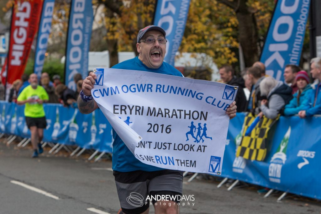Snowdon Marathon. Finish line in Llanberis. Photographs of Cwm Ogwr Running Club based in Ogmore Vale near Bridgend by Andrew Davis Photography