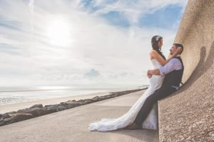 Paige & Steve photographed on Aberavon beach by Andrew Davis, of Andrew Davis Photography